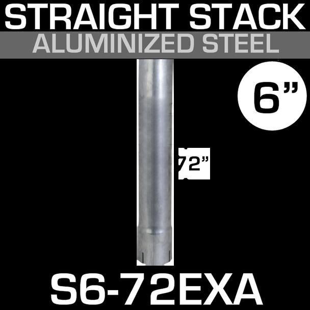 "6"" x 72"" Straight Aluminized Exhaust Tubing ID-OD S6-72EXA"