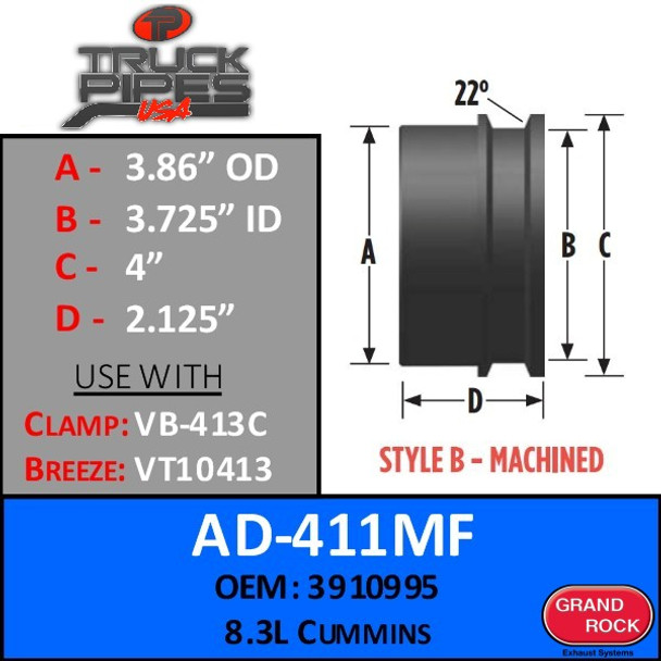 "AD-411MF 3.86"" OD x 4"" Lip - 8.3L Cummins Machined Turbo - Style B"