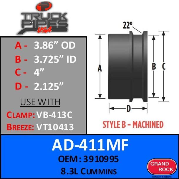 """AD-411MF 3.86"""" OD x 4"""" Lip - 8.3L Cummins Machined Turbo - Style B"""