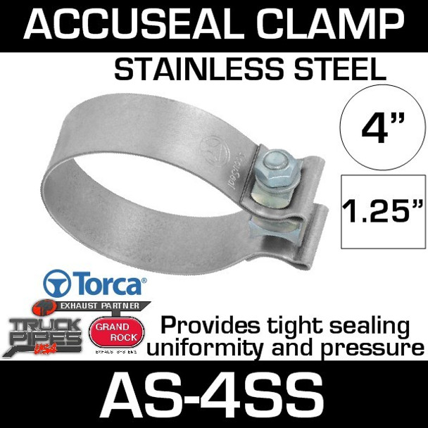 """4"""" Stainless AccuSeal Band Exhaust Clamp 430 Stainless AS-4SS"""