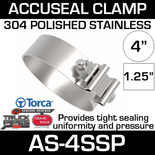 """4"""" Polished Stainless AccuSeal Band Exhaust Clamp AS-4SSP"""