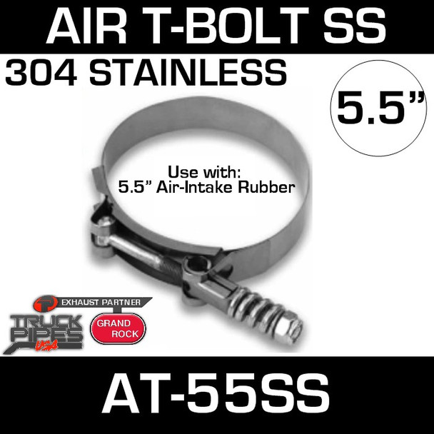 AT-55SS Air-Intake Clamp 5.5 inch T-Bolt Stainless Steel