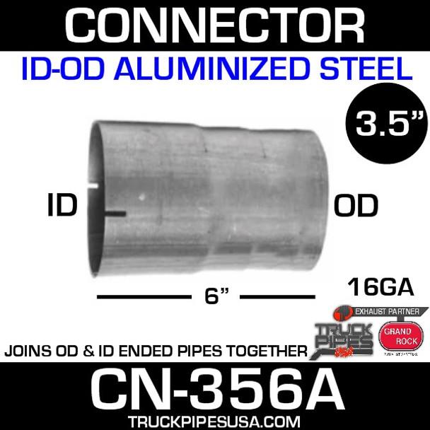 """3.5"""" x 6"""" Exhaust Coupler/Connector ID-OD Aluminized CN-356A"""