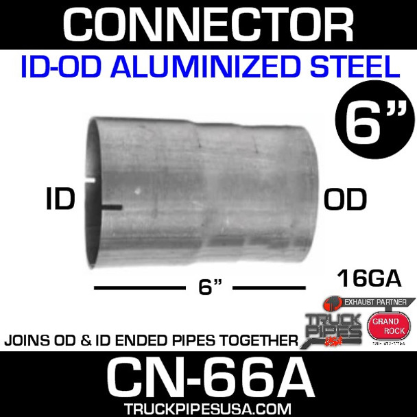 """6"""" x 6"""" Exhaust Connector ID-OD Aluminized CN-66A"""