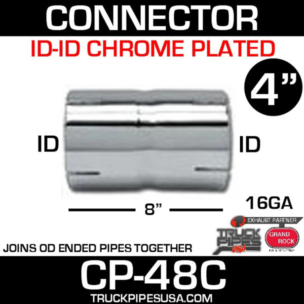 "4"" x 8"" Exhaust Coupler/Connector ID-ID Chrome CP-48C"