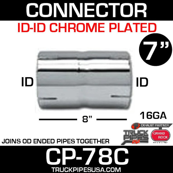 "7"" x 8"" Chrome Exhaust Coupler ID-ID CP-78C"