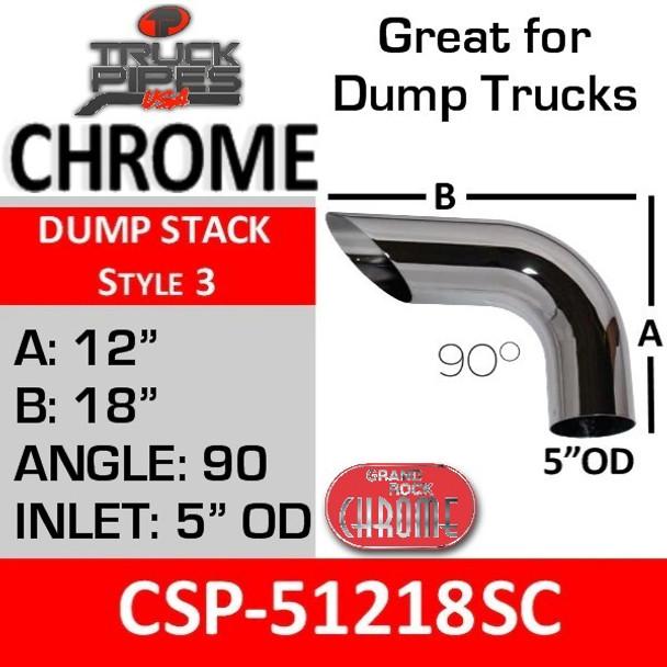 "CSP-51218SC 5"" OD Chrome 90 Degree Dump Stack Pipe A-12-B-18"