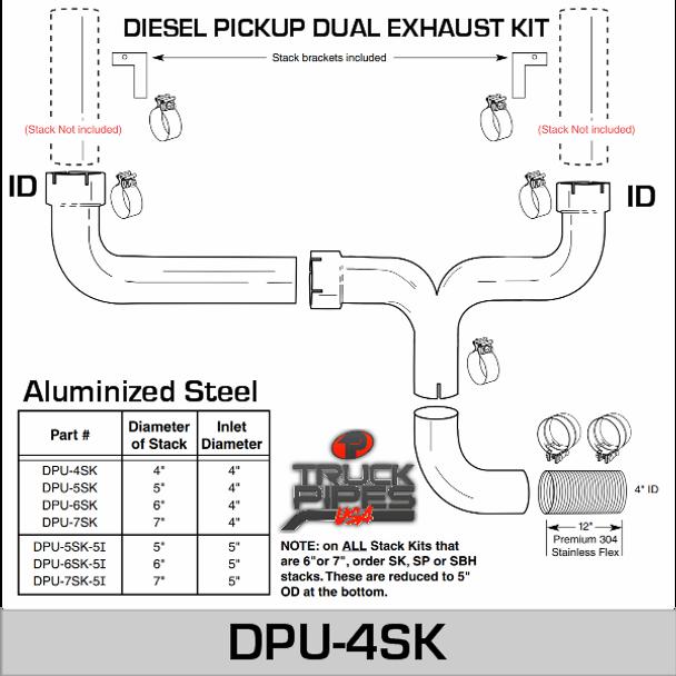 """4"""" Diesel Pick-up Dual Exhaust Kit DPU-4SK"""