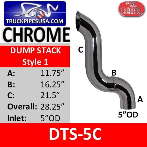 """5"""" OD Chrome 3-Bend Dump Truck Pipe A-11.75 B-16.25 C-21.5"""