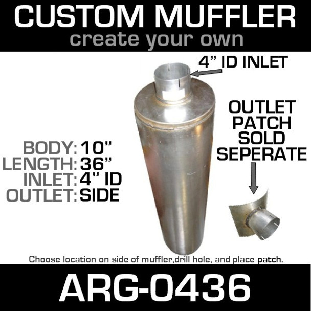"10"" x 36"" Universal Muffler with 4"" ID End ARG-0436"
