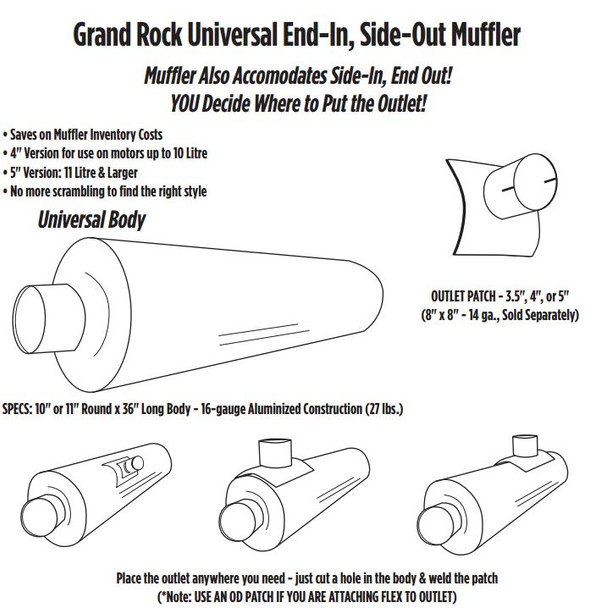 "ARG-0436OD 10"" x 36"" Universal Muffler with 4"" OD on 1 End ARG-0436OD"