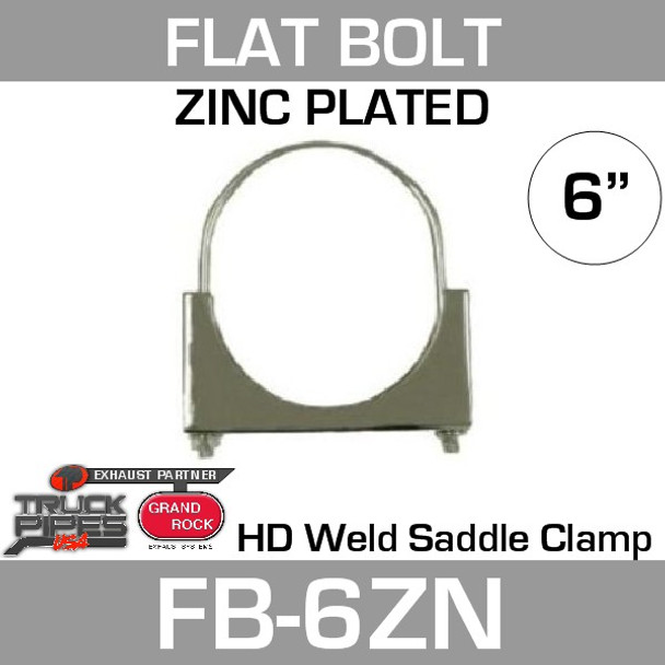 "6"" Flat Bolt Exhaust Clamp Zinc Plated FB-6ZN"