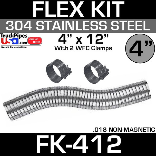 """4"""" x 12"""" Stainless Steel Flex Pipe Kit with 2 Clamps FK-412"""