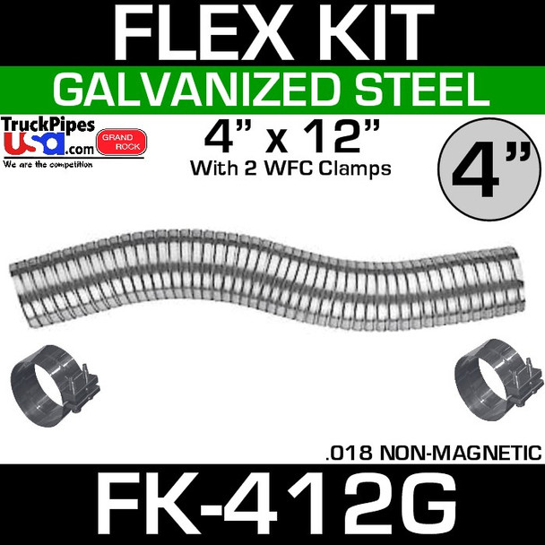 """4"""" x 12"""" Galvanized Flex Pipe Kit 2 Clamps Included FK-412G"""