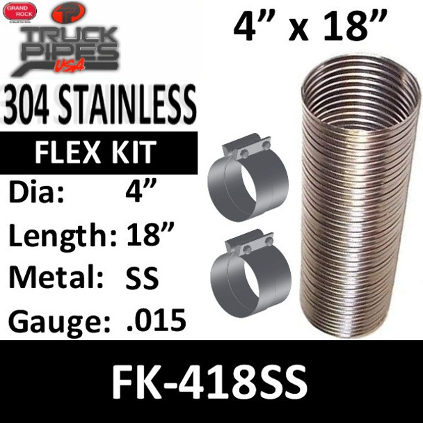 """4"""" x 18"""" Stainless Steel Flex Pipe Kit 2 Clamps Included FK-418SS"""