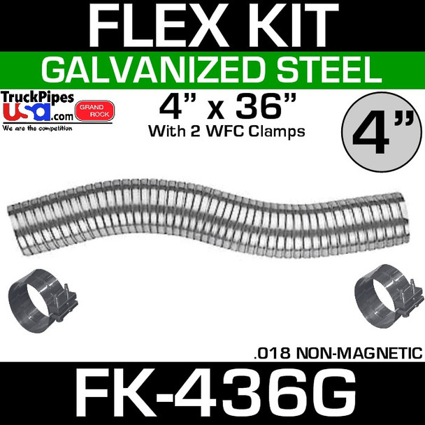 """4"""" x 36"""" Galvanized Flex Pipe Kit 2 Clamps Included FK-436G"""