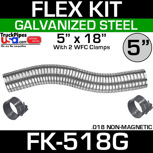 """5"""" x 18"""" Galvanized Flex-Pipe Kit 2 Clamps Included FK-518G"""