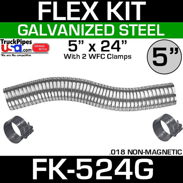 """5"""" x 24"""" Galvanized Flex-Pipe Kit 2 Clamps Included FK-524G"""