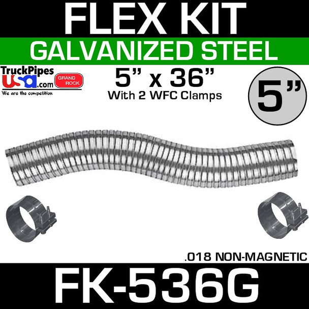 """5"""" x 36"""" Galvanized Flex-Pipe Kit 2 Clamps Included FK-536G"""