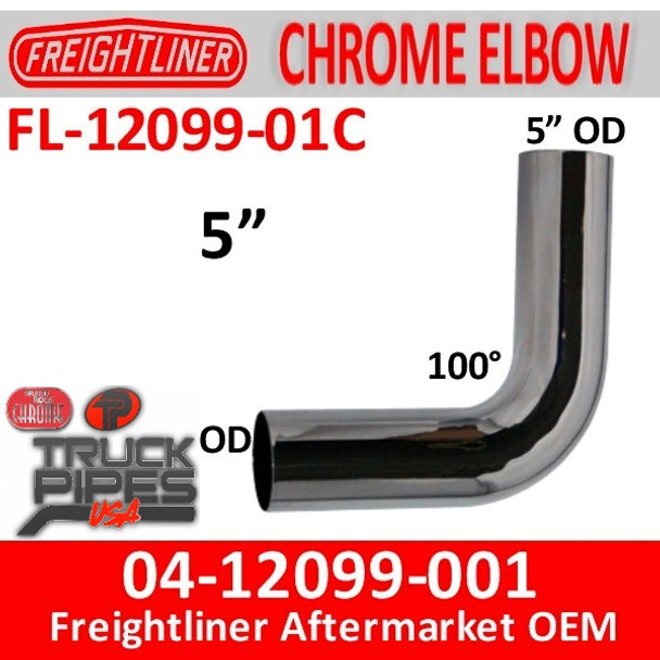 04-12099-001 Freightliner 100 Degree Chrome Elbow FL-12099-01C
