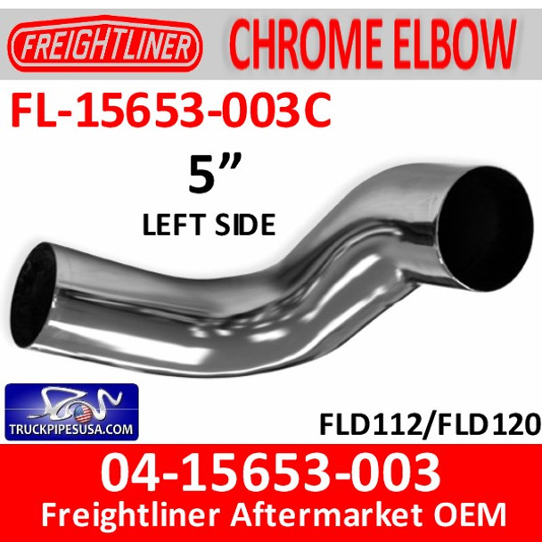 04-15653-003C Freightliner Chrome Left Exhaust Elbow FL-15653-003C