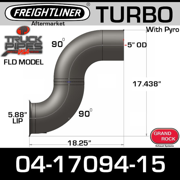 04-17094-015 Freightliner Turbo Exhaust with Pyro FL-17094-015