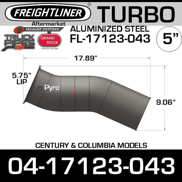 04-17123-043 Freightliner Exhaust Turbo Elbow Pipe FL-17123-043