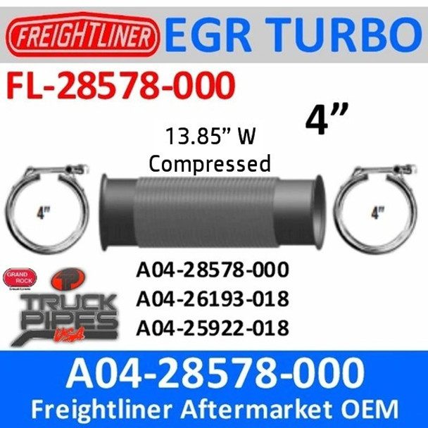 """A04-28578-000 4"""" Bellows Flex Pipe Freightliner with Clamps"""