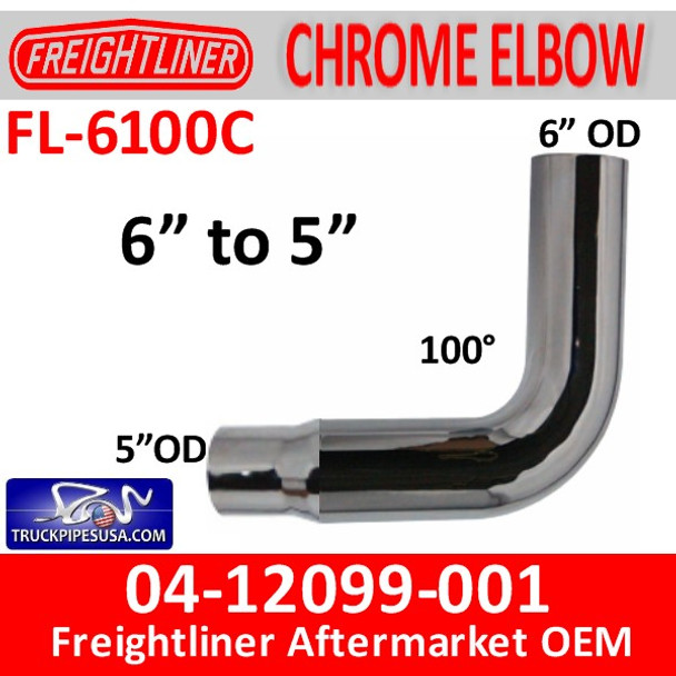 """FL-6100C 04-12099-001 6"""" Freightliner Chrome 90 Elbow Reduced to 5"""" OD"""