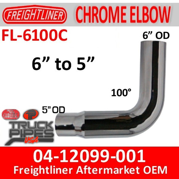 "04-12099-001 6"" Freightliner Chrome 100 Elbow Reduced to 5"" OD"