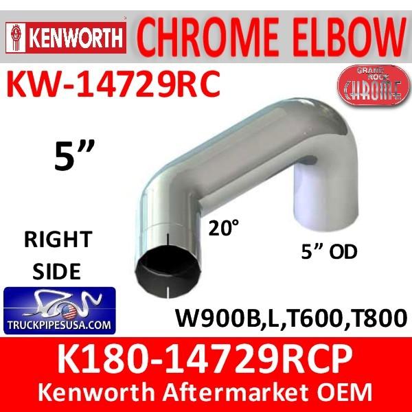 K180-14729RCP Kenworth Chrome Right Exhaust B Model