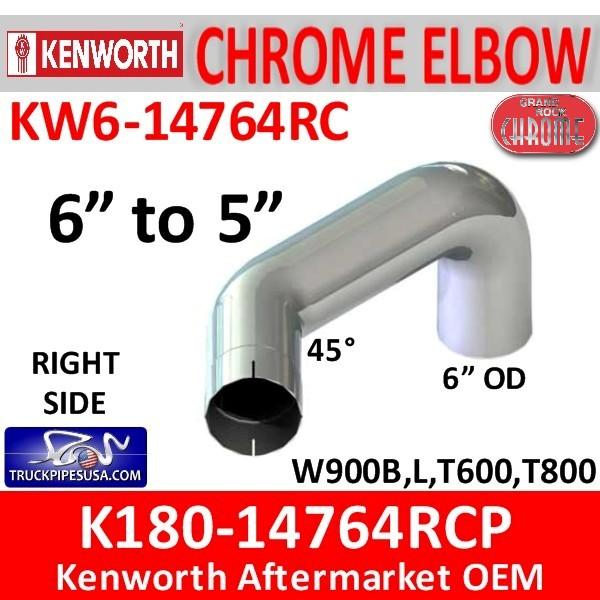K180-14764 Kenworth Right Chrome Elbow 6
