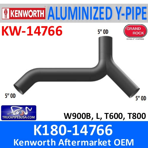 K180-14766 Kenworth Exhaust Aluminized Y-Pipe W900-T600-T800