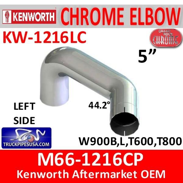 M66-1216CP Kenworth Chrome Exhaust Left Elbow KW-1216LC