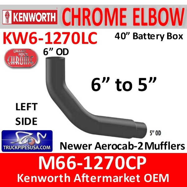 M66-1270CP Kenworth Left Chrome Exhaust 6