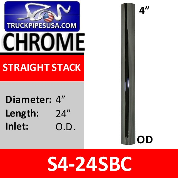 4 inch x 24 inch Straight Cut Chrome Exhaust Tube OD Ends S4-24SBC
