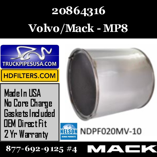 20864316 Volvo/Mack DPF for MP8  Engine