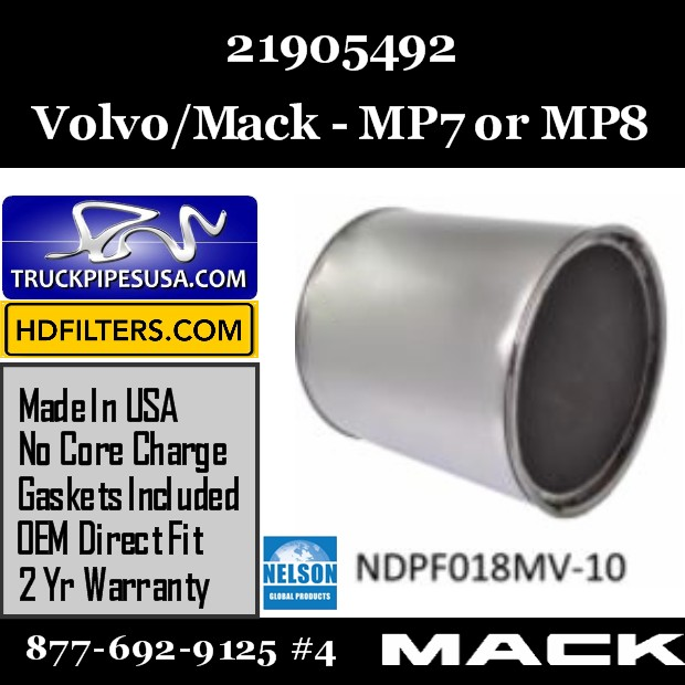 21905492 Volvo/Mack DPF for MP7/MP8 Engine
