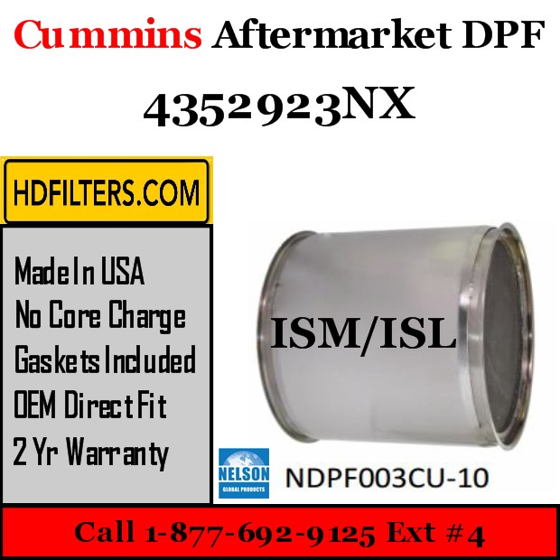 4352923NX Cummins ISM / ISL Engine Diesel Particulate Filter DPF