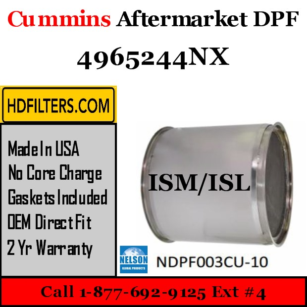4965244NX Cummins ISM / ISL Engine Diesel Particulate Filter DPF