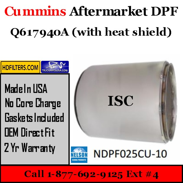 Q617940A with Shield Cummins ISC Engine Diesel Particulate Filter DPF