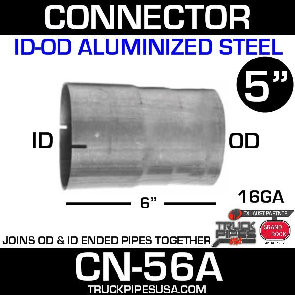 """5"""" x 6"""" Exhaust Connector ID-OD Aluminized CN-56A"""