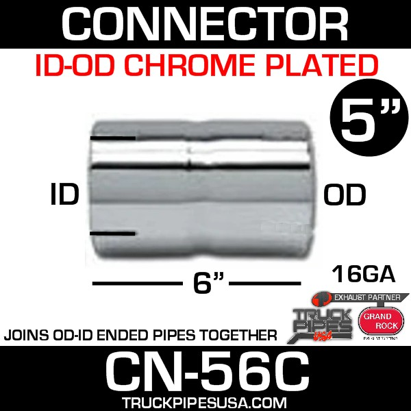 "5"" x 6"" Exhaust Coupler/Connector ID-OD Chrome CN-56C"