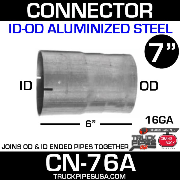 """7"""" x 6"""" Exhaust Connector ID-OD Aluminized CN-76A - SPECIAL ORDER"""