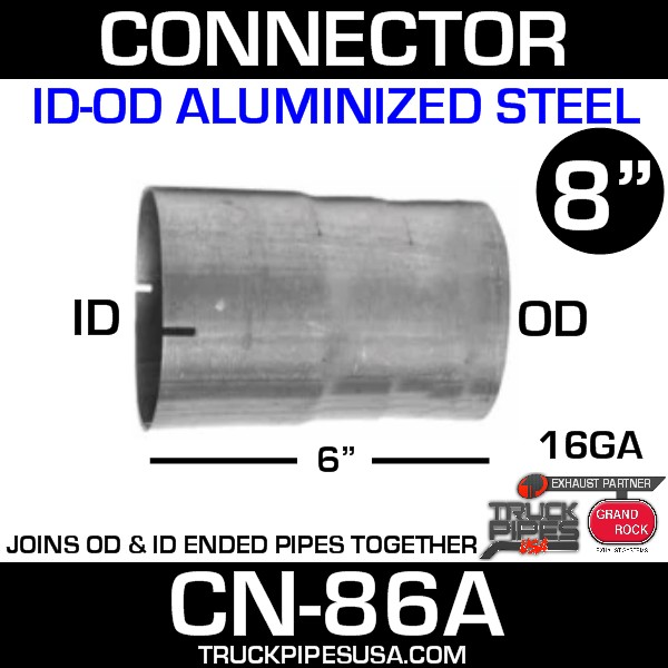 """8"""" x 6"""" Exhaust Connector ID-OD Aluminized CN-86A - SPECIAL ORDER"""