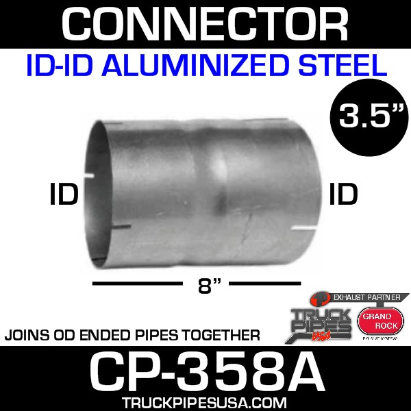 "3.5"" x 8"" Exhaust Coupler/Connector ID-ID Aluminized CN-358A"