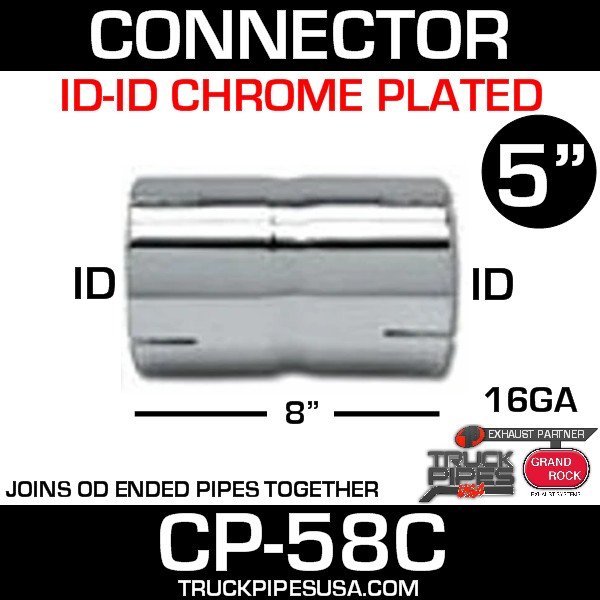 """5"""" x 8"""" Exhaust Coupler/Connector ID-ID Chrome CP-58C"""