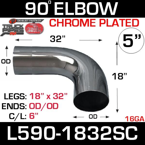 """5"""" 90 Degree Exhaust Elbow 18"""" x 32"""" OD-OD Chrome L590-1832SC"""