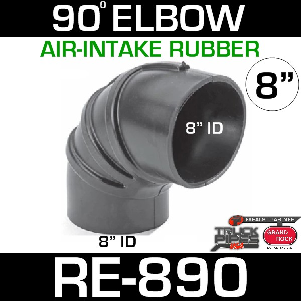 """8"""" Air Intake Rubber 90 Degree Elbow RE-890"""