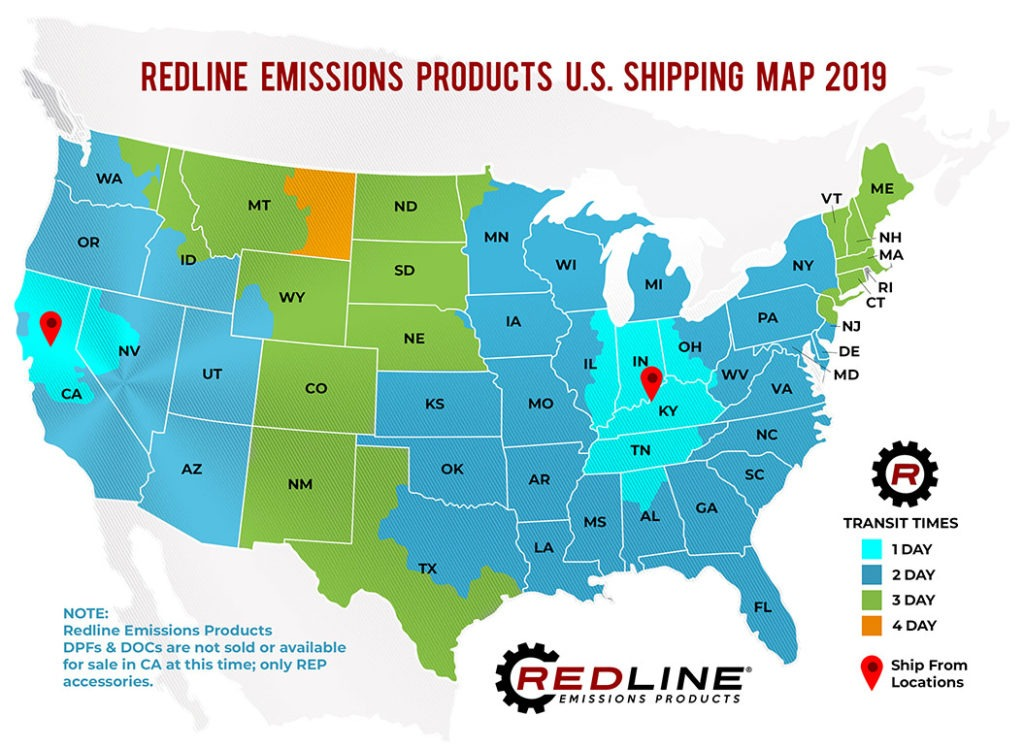 Redline DPF and DOC SHipping Map